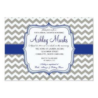 """Royal Blue and Grey Chevron Invitaiton 5"""" X 7"""" Invitation Card"""