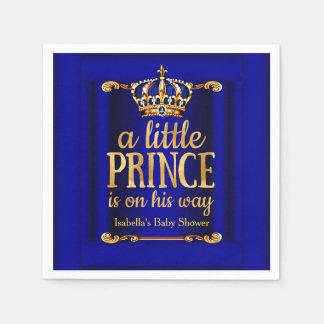 Royal Blue Gold Prince On His Way Baby Shower Paper Napkins