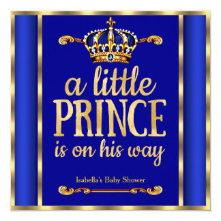 """Royal Blue Navy Gold Prince on his way Baby Shower 5.25"""" Square Invitation Card"""