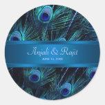 Royal Blue Purple Peacock Wedding Stickers