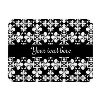 Royal Damask black and white Rectangular Photo Magnet