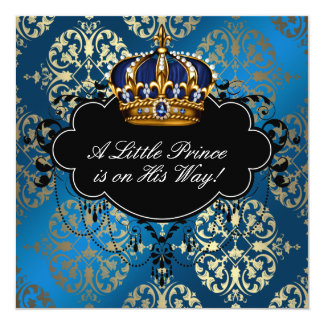 "Royal Navy Blue Gold Prince Baby Boy Shower 5.25"" Square Invitation Card"