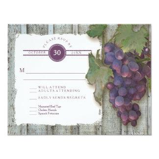 """RSVP Meal Menu Options Vintage Wood n Vineyard 4.25"""" X 5.5"""" Invitation Card"""