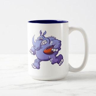 Rugby Rhinoceros Two-Tone Coffee Mug