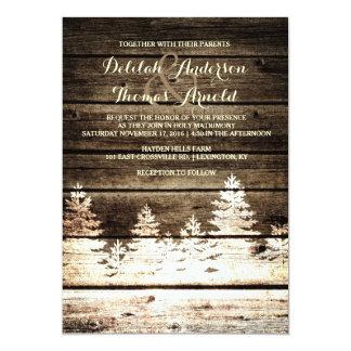 Rustic Barn Wood Pine Trees Winter Wedding Invite