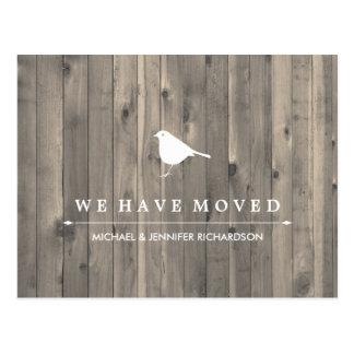 Rustic Brown Wood and Sweet Bird Change of Address Postcard