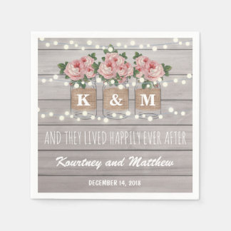 Rustic Burlap Mason Jar Wedding | Roses Disposable Napkin