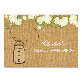 "Rustic Burlap Roses bridal shower bingo cards 5"" X 7"" Invitation Card"