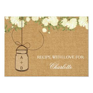 "Rustic Burlap Roses bridal shower recipe cards 5"" X 7"" Invitation Card"