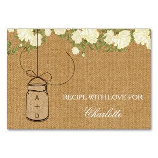 Rustic Burlap Roses bridal shower recipe cards Table Cards