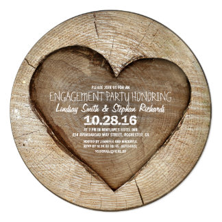 """Rustic carved tree wood heart engagement party 5.25"""" square invitation card"""