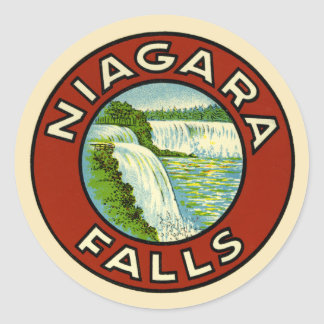 Rustic Colorful Vintage Travel Old Niagara Falls Round Sticker