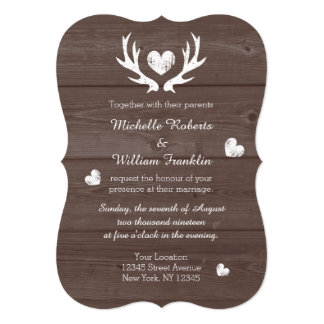 Rustic country chic deer antler wedding invitation