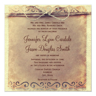 Rustic Country Distressed Vintage Wedding Invites