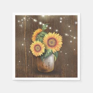 Rustic Country Sunflower Mason Jar Wedding Paper Napkins