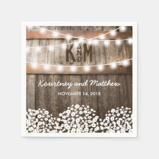 RUSTIC COUNTRY WEDDING | STRING OF LIGHTS PAPER NAPKINS