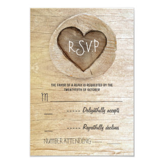 """Rustic country wood heart wedding RSVP cards 3.5"""" X 5"""" Invitation Card"""