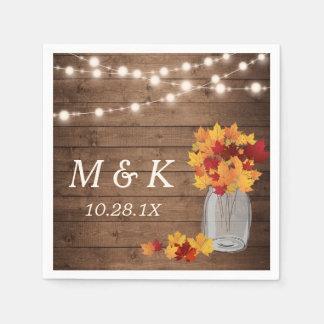 Rustic Fall Wedding Monogram String Lights Wood Disposable Napkin