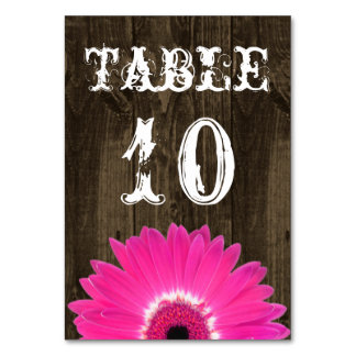Rustic Hot Pink Daisy Wedding Table Number Card Table Cards
