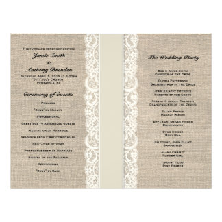 Rustic Lace & Burlap Ivory Ribbon Wedding Program Full Color Flyer