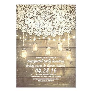 "Rustic Mason Jar Lights Lace Wood Engagement Party 5"" X 7"" Invitation Card"