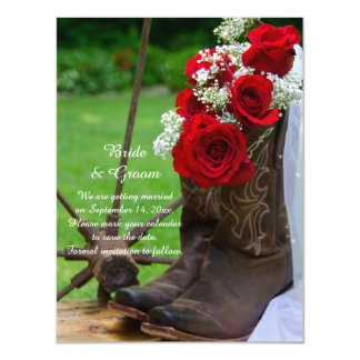 Rustic Red Rose Cowboy Boots Wedding Save the Date Magnetic Invitations