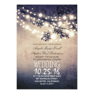 "Rustic tree branches & string lights wedding 5"" x 7"" invitation card"
