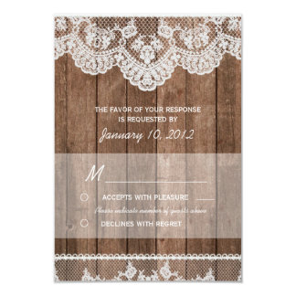 """Rustic White Lace and Wood RSVP 3.5"""" X 5"""" Invitation Card"""