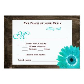 "Rustic Wood Teal Gerber Daisy Wedding RSVP Cards 3.5"" X 5"" Invitation Card"
