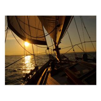 Sailboat Deck, Heading Into Setting Sun Postcard