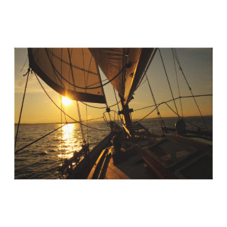 Sailboat Deck, Heading Into Setting Sun Stretched Canvas Prints