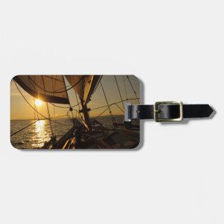 Sailboat Deck, Heading Into Setting Sun Travel Bag Tags
