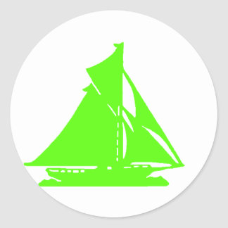 Sailboat Green lg-transp Vero Beach The MUSEUM Zaz Round Sticker