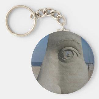 sand sculpture basic round button keychain