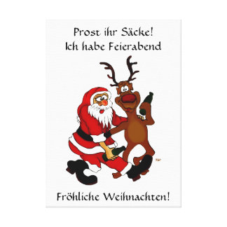 Santa Claus with moose - Prost it bags! Stretched Canvas Print