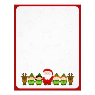 Santa, Elves and Reindeer Christmas Letter Paper Personalized Letterhead