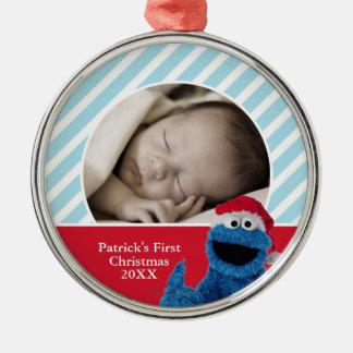 Santa Hat Cookie Silver-Colored Round Ornament