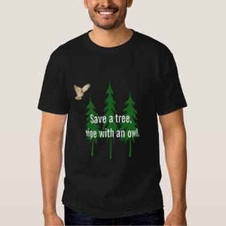 Save a tree,wipe with an owl. tee shirts