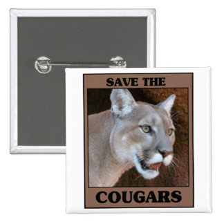Save the Cougar 2 Inch Square Button