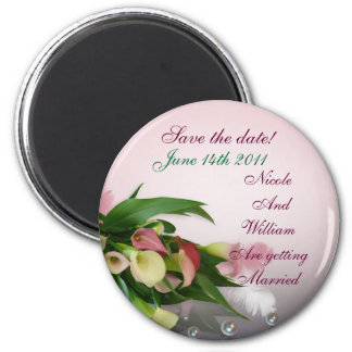 Save the date calla lily bouquet magnet