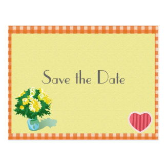 Save the date country style wedding postcard