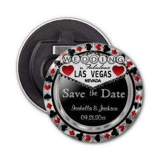 Save the Date Las Vegas Style - Silver & Red Button Bottle Opener