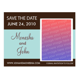 Save The Date Postcard - Brown and Light Blue