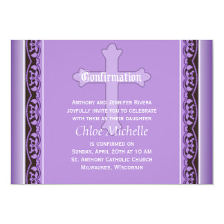 "Scalloped Vines with Cross Purple Confirmation 5"" X 7"" Invitation Card"