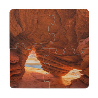Scenic of eroded sandstone cave drink coaster puzzle