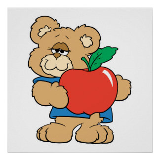 School Days Apple Teddy Bear Poster