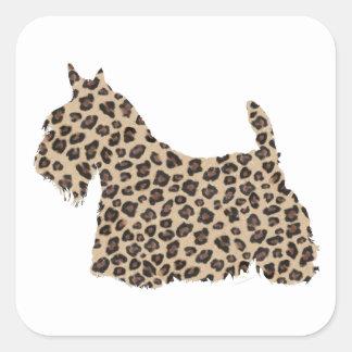 Scottish Terrier Cheetah Print Square Sticker