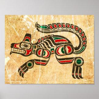 Scratched and Worn Haida Spirit Wolf Poster
