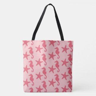 Seahorse & starfish - shades of coral pink tote bag