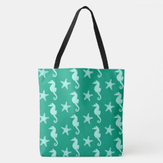 Seahorse & starfish - teal and seafoam green tote bag